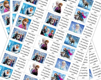 24 x Frozen Labels Personalised with Any Name for Birthday Parties/ Party Loot Bags etc