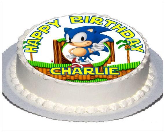 Phenomenal 1 X Personalised 7 5 Sonic Birthday Cake Topper With Any Etsy Funny Birthday Cards Online Elaedamsfinfo