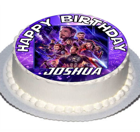 Terrific Avengers End Game Round 7 5 Birthday Cake Topper With Etsy Personalised Birthday Cards Cominlily Jamesorg