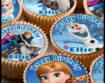 24 x Personalised Frozen Cup Cake Toppers with Any Name Happy Birthday & Elsa Anna Olaf