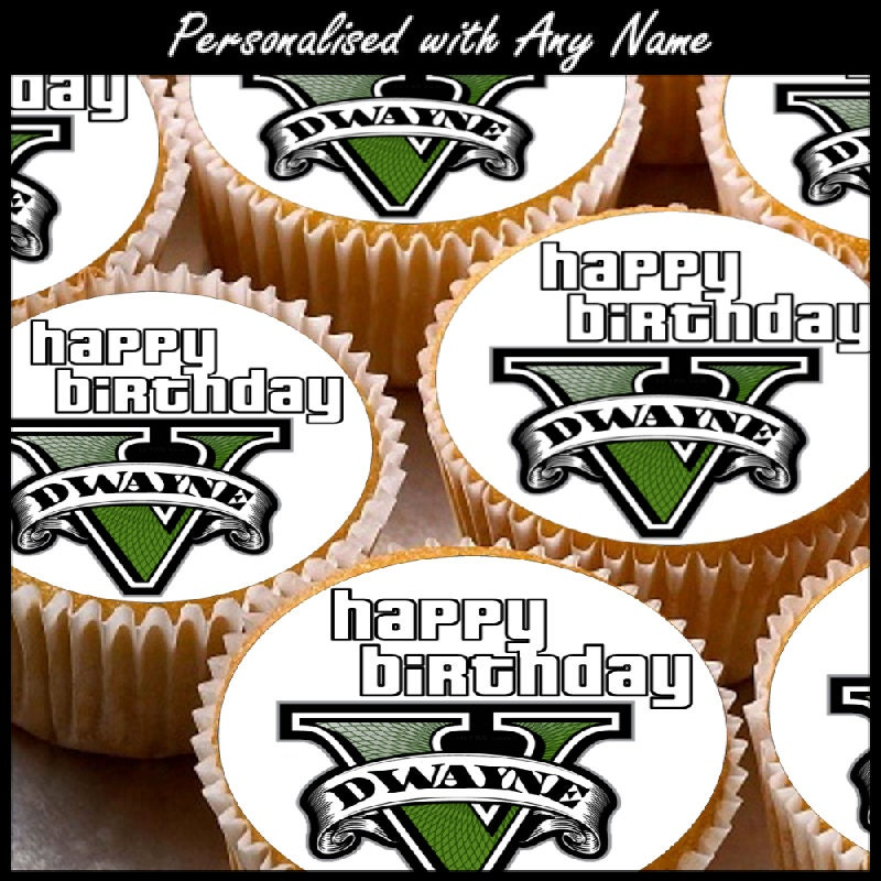 24 X Personalised Grand Theft Auto 5 Fan Cup Cake Toppers With