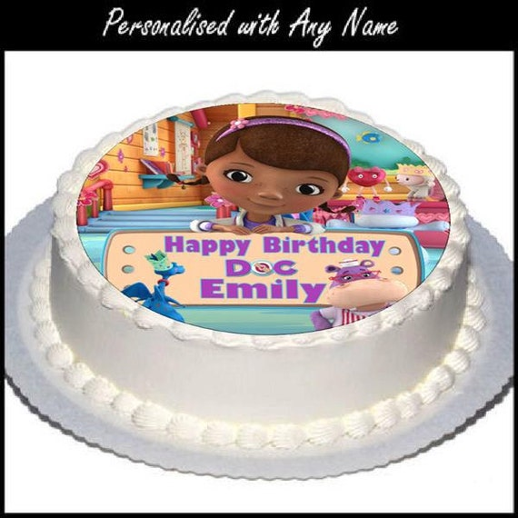 Brilliant 1 X Personalised 7 5 Doc Mcstuffin Birthday Cake Topper Etsy Birthday Cards Printable Nowaargucafe Filternl
