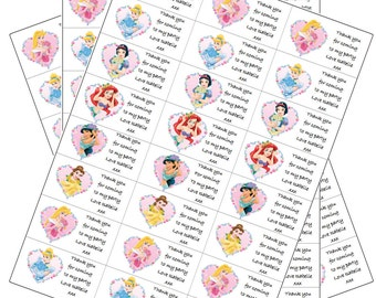 24 x Disney Princess Labels Personalised with Any Name for Birthday Parties/ Party Loot Bags etc