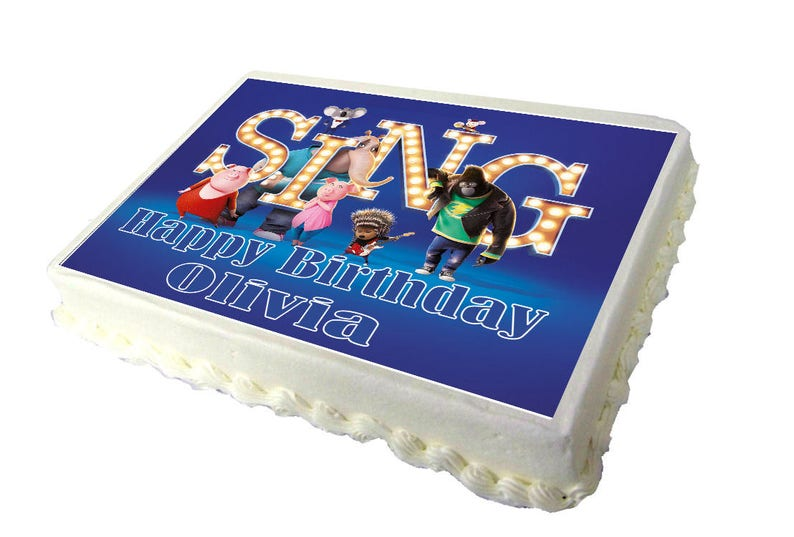 Sing Movie 2017 A4 Birthday Cake Topper With Any Name Etsy