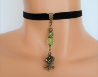 black velvet choker, rose choker, rose necklace, stretch ribbon, antique bronze, green beads