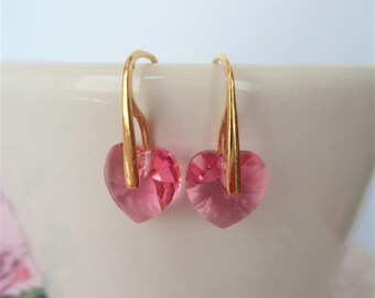 pink heart earrings, gold filled earrings, sterling silver, bridal, bridesmaids, pink crystal earrings, swarovski