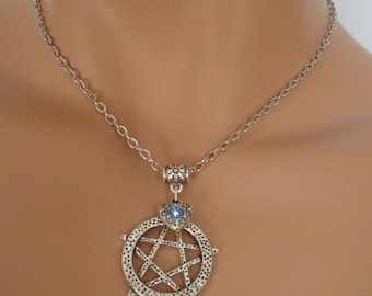 pentagram choker, pentagram necklace, heart charm, wicca jewellery