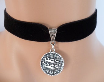 velvet choker, gemini choker, gemini necklace, stretch ribbon, black velvet, star sign, zodiac charm