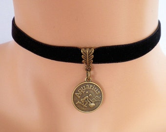 black velvet choker, aquarius choker, aquarius necklace, stretch ribbon, zodiac charm, antique bronze