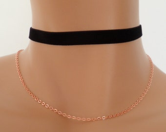 STRETCH velvet choker, black velvet choker, velvet necklace, thin choker, gold plated chain
