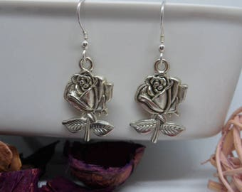 rose earrings, silver tone earrings, bridesmaid gifts, sterling silver ear wires