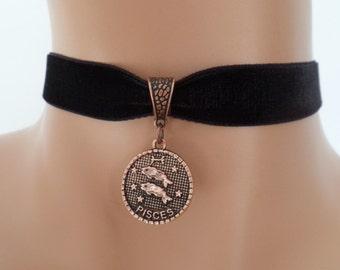 velvet choker, pisces choker, pisces necklace, stretch ribbon, black velvet, zodiac, copper tone
