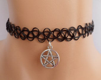 tattoo choker, pentagram choker, pentagram necklace
