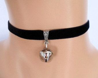 cat bell choker, black velvet choker, elasticated ribbon, silver jingle bell