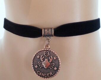 velvet choker, cancer choker, cancer necklace, stretch ribbon, black velvet, zodiac, copper tone