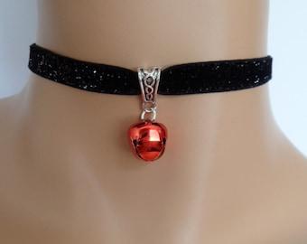 cat bell choker, black velvet choker, glitter necklace, elasticated ribbon, red jingle bell