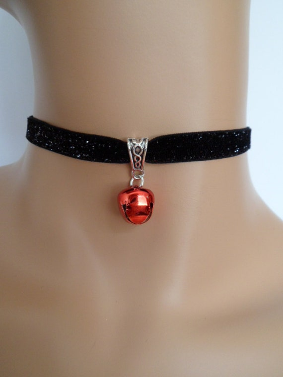 Jingle Bell Choker Bell Choker Red Bell Choker Bell Necklace Bell Jewelry bdsm Choker Choker With Bell Christmas Choker