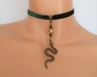 snake choker, green velvet choker, serpent necklace, snake necklace