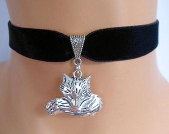 black velvet choker, fox choker, fox necklace, stretch ribbon