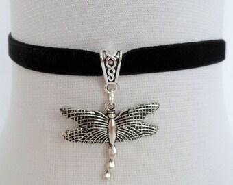 dragonfly choker, black velvet choker, dragon fly necklace, stretch ribbon