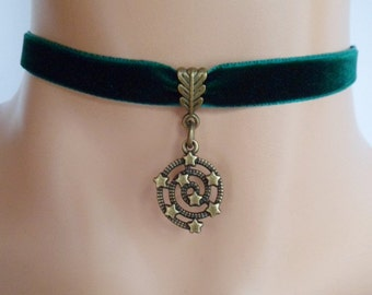 green velvet choker, star choker, universe necklace, antique bronze