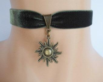 sun choker, green velvet choker, sun necklace, pagan necklace, stretch ribbon, olive green