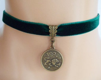 green velvet choker, leo choker, leo necklace, zodiac charm, antique bronze