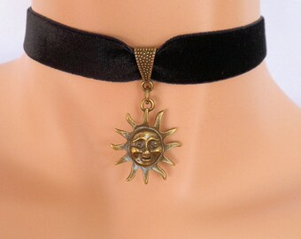 sun choker, black velvet choker, sun necklace, pagan necklace, stretch ribbon