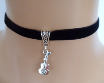 guitar choker, black velvet choker, guitar necklace, stretch ribbon