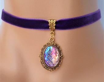 purple velvet choker, purple pendant, vintage style choker