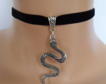 silver snake choker, black velvet choker, serpent necklace, stretch ribbon, snake necklace