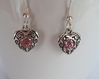 heart earrings, Sterling Silver ear wires, bridesmaid gifts, pink stone
