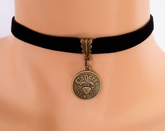 black velvet choker, cancer choker, cancer necklace, stretch ribbon, zodiac charm, antique bronze