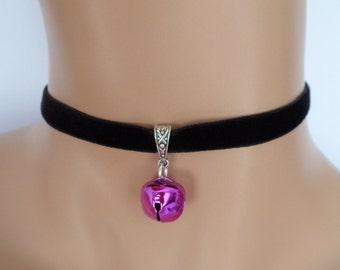 cat bell choker, black velvet choker, elasticated ribbon, purple jingle bell