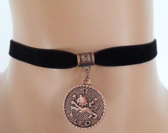 velvet choker, leo choker, leo necklace, stretch ribbon, black velvet, zodiac