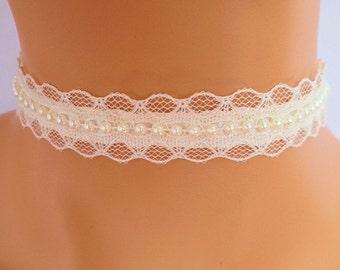cream lace choker, cream beaded choker, bridal necklace