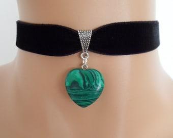 black velvet choker, malachite gemstone, green heart pendant, stretch ribbon