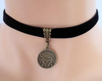 black velvet choker, gemini choker, gemini necklace, stretch ribbon, zodiac charm, antique bronze