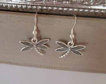 dragonfly earrings, silver tone earrings
