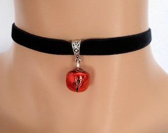 cat bell choker, black velvet choker, elasticated ribbon, red jingle bell
