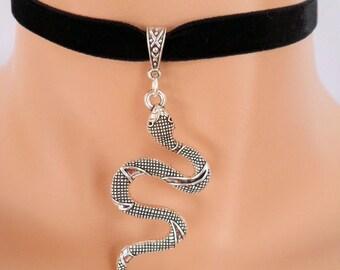 silver snake choker, black velvet choker, serpent necklace, stretch ribbon, snake necklace