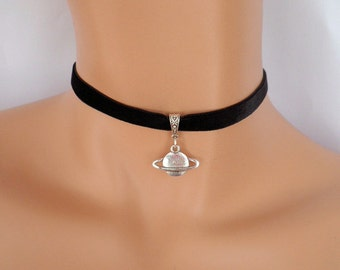 planet choker, black velvet choker, planet necklace, stretch ribbon