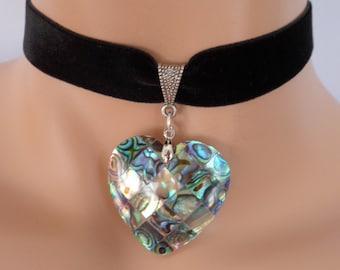 heart choker, black velvet choker, stretch ribbon, abalone shell, green pendant