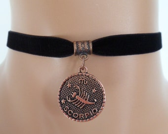 velvet choker, scorpio choker, scorpio necklace, stretch ribbon, black velvet, zodiac, copper tone