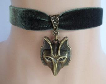 green velvet choker, fox choker, fox necklace, stretch ribbon, antique bronze