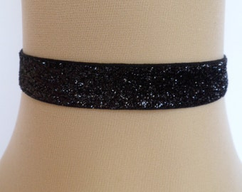 black velvet choker, glitter choker, stretch ribbon