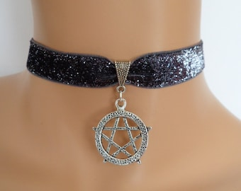 pentagram choker, silver velvet choker, stretch ribbon, glitter ribbon, wicca jewellery