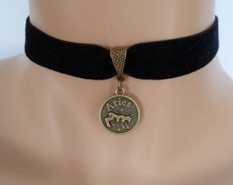 velvet choker, aries choker, star sign necklace, stretch ribbon, black velvet