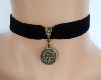 velvet choker, scorpio choker, star sign necklace, stretch ribbon, black velvet