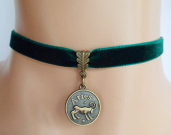 green velvet choker, aries choker, aries necklace, zodiac charm, antique bronze